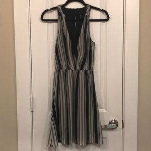 H&M black and white striped dress size 2